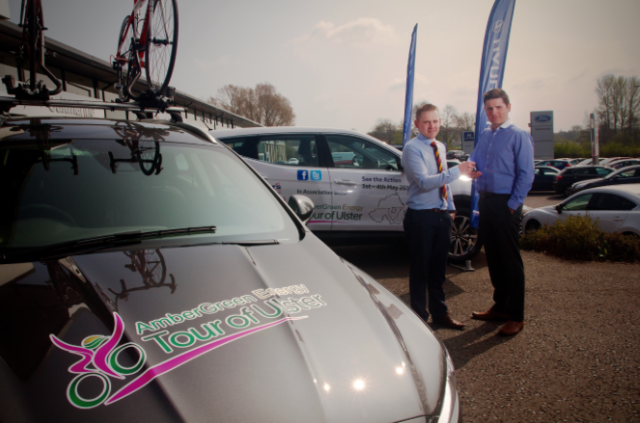 Michael Salt, partner of Saltmarine Cars hands over the keys of the official AmberGreen Energy Tour of Ulster race vehicles to organiser Garry Nugent.